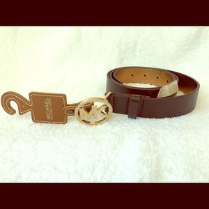 NWT Michael Kors brown leather belt size Large